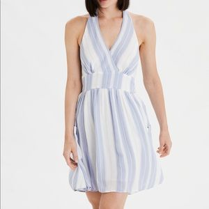 AE BLUE & WHITE STRIPED HALTER DRESS